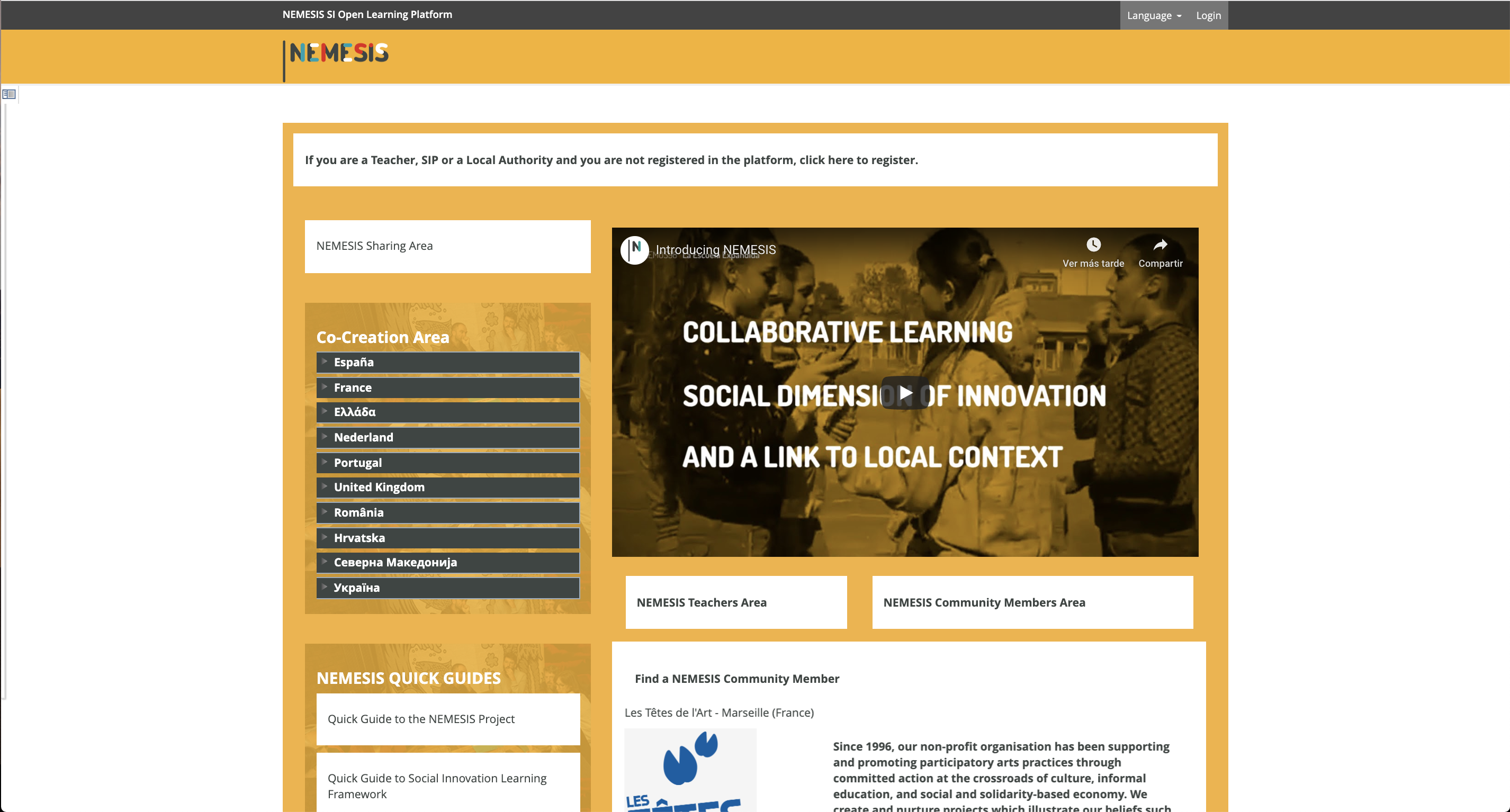 Launching the online learning platform: A new shared space to bind the growing NEMESIS community